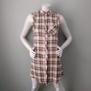 Kimchi Blue Viscose Plaid High Slit Tunic Dress XS